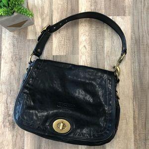 Coach Legacy Stripe Black Leather Shoulder Bag